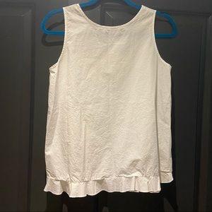 White sleeveless cotton blouse